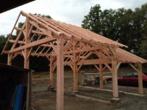 structure carport 2 pans douglas